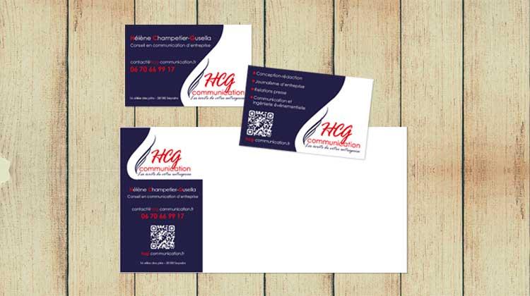 Carte de visite et carton de correspondance HCG communication